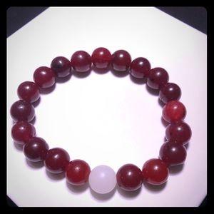 Unisex Bracelet, Burgundy and White